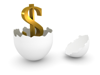 A dollar sign hatched from an egg